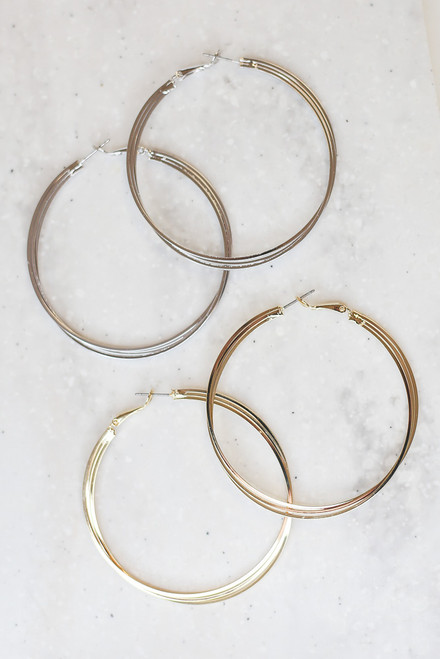 Gold - Twisted Hoop Earrings