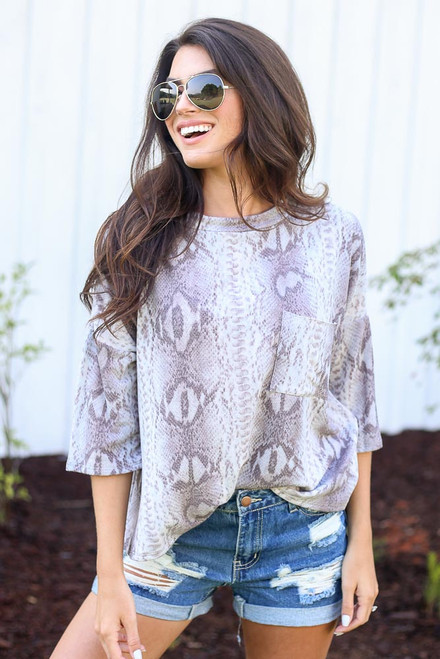 Grey - Oversized Snakeskin Top from Dress Up
