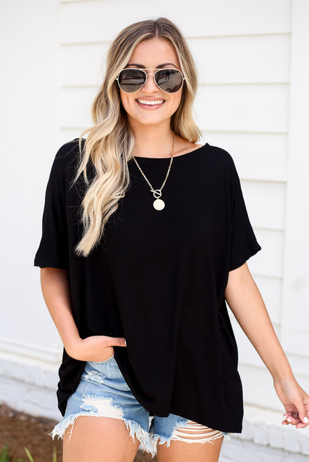 Black - Oversized Soft Knit Top
