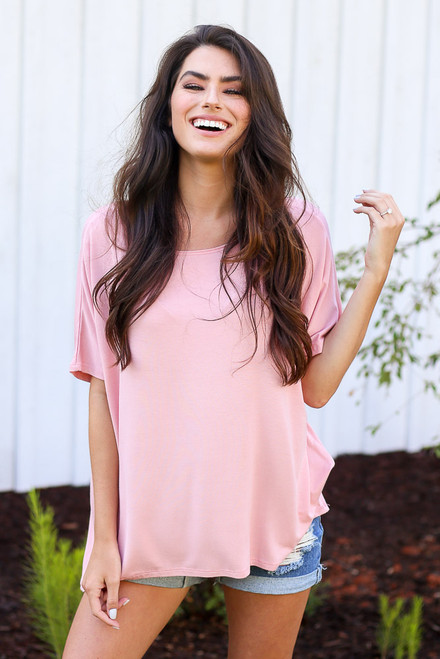 Blush - Model wearing the Oversized Soft Knit Top in pink