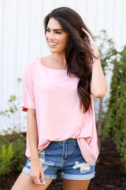 Blush - Dress Up model wearing the Oversized Soft Knit Top in pink