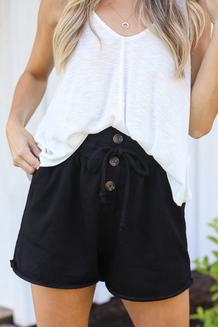 Black - Button Front Shorts