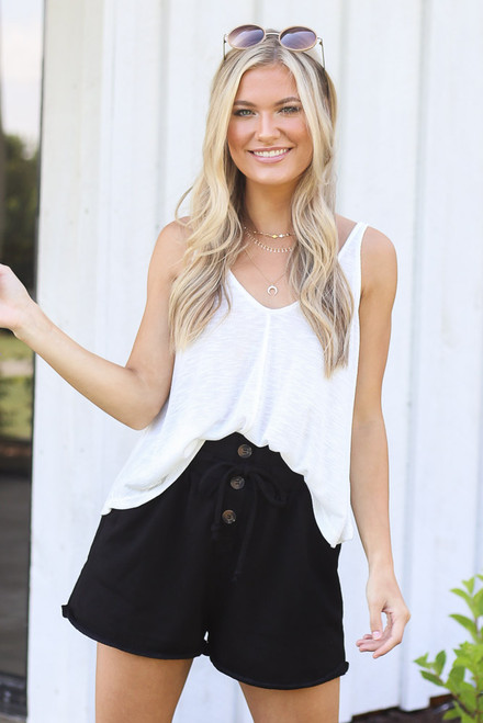 Black - Button Front Shorts from Dress Up