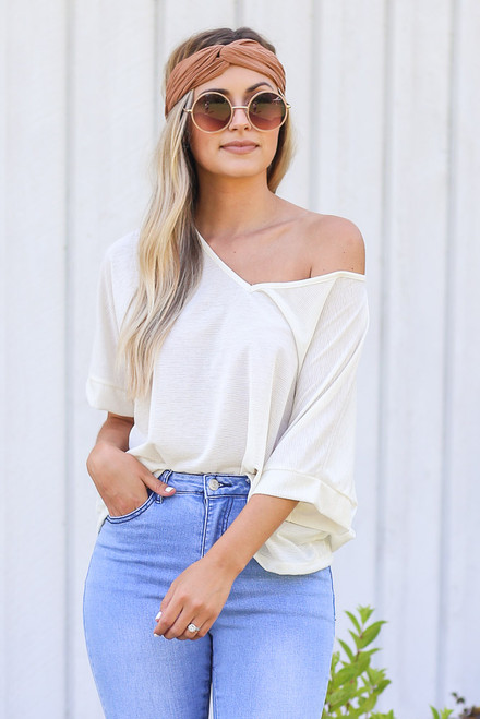 Ivory - Textured Oversized Top from Dress Up