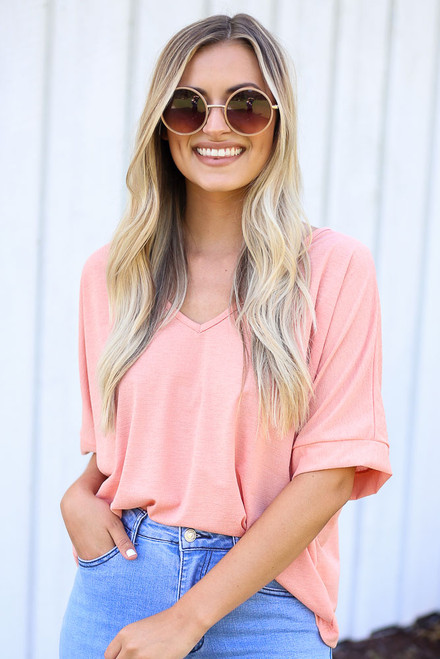 Coral - Textured Oversized Top from Dress Up