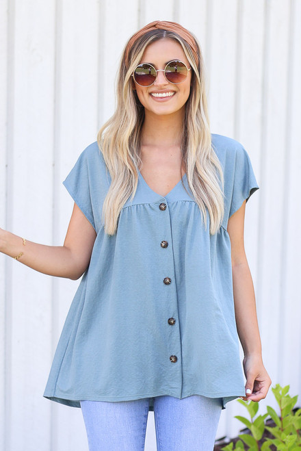 Denim - cute Button Front Babydoll Top from dress up