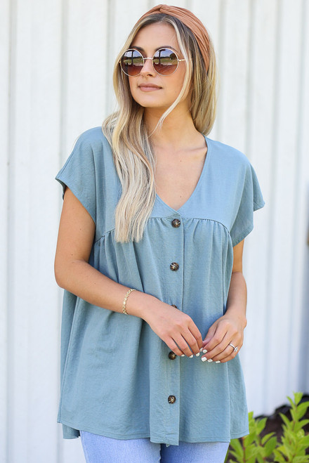 Denim - pretty Button Front Babydoll Top