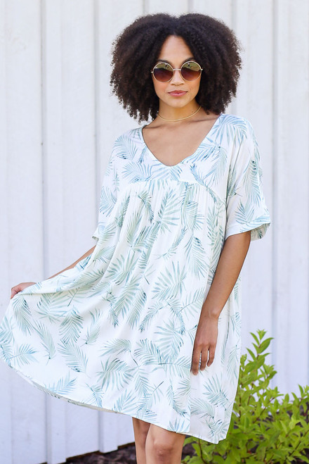 Mint - Leaf Print Babydoll Dress