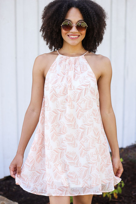Ivory - Leaf Print Swing Dress
