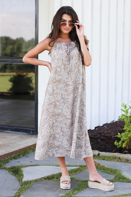 Taupe - Leaf Print Midi Dress