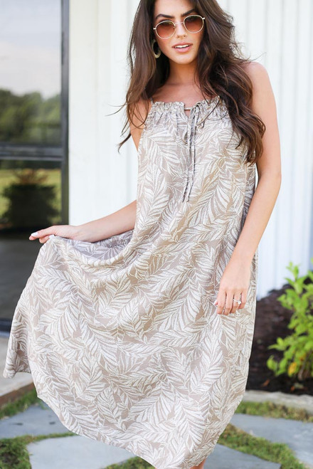 Taupe - Leaf Print Midi Dress from Dress Up