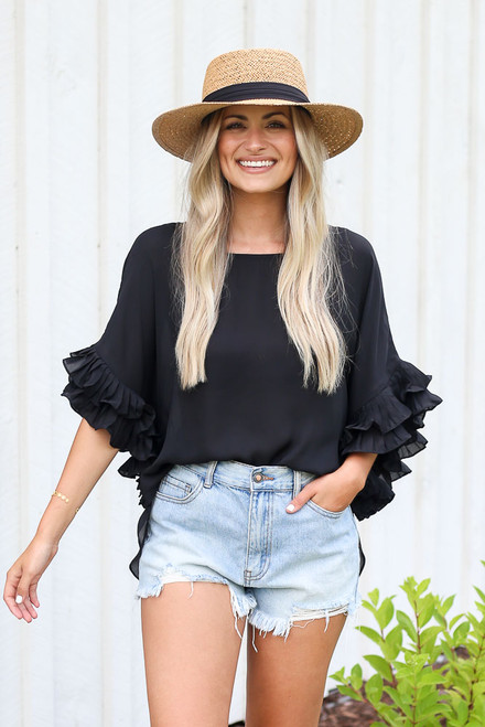 Black - Ruffle Sleeve Blouse