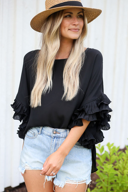 Black - Ruffle Sleeve Blouse from Dress Up
