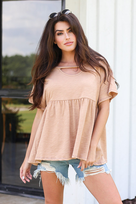 Camel - Oversized Babydoll Top