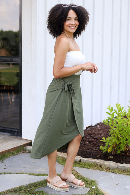 Olive - Wrap Midi Skirt in Olive Side View