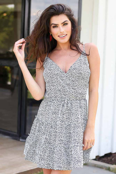 White - Model wearing the Spotted Tiered Dress