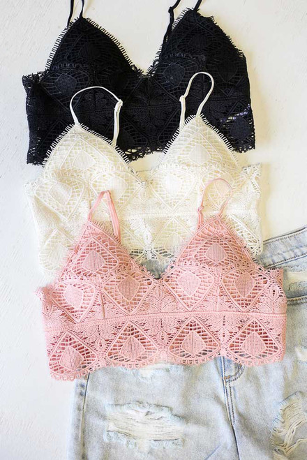 Black - Flat Lay of all 3 of the Crochet Lace Bralettes