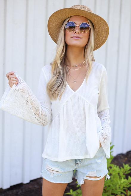 White - Waffle Knit Babydoll Top