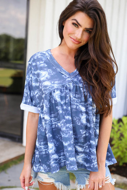 Navy - Tie-Dye Babydoll Top from Dress Up