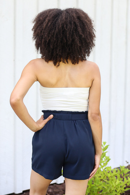 Navy - Paperbag Waist Shorts in Navy Back View