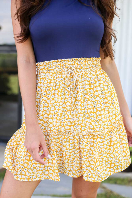 Mustard - Tiered Floral Skirt from Dress Up
