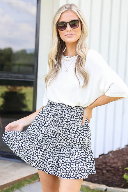Navy - Model wearing the Tiered Floral Skirt