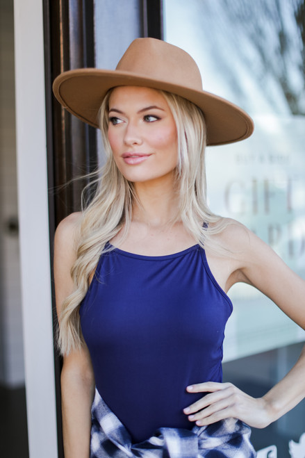 Navy - Dress Up model wearing the Square Neck Bodysuit with a flannel
