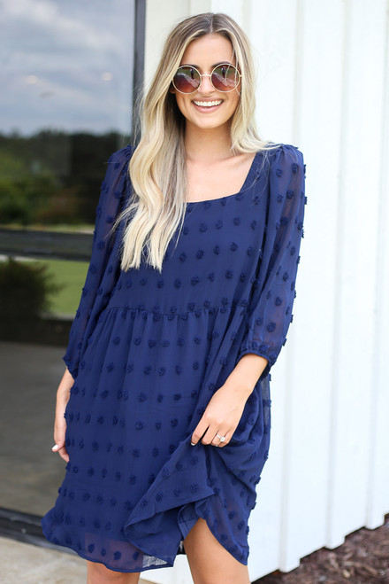 Navy - Swiss Dot Babydoll Dress