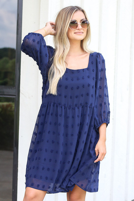 Navy - Swiss Dot Babydoll Dress from Dress Up