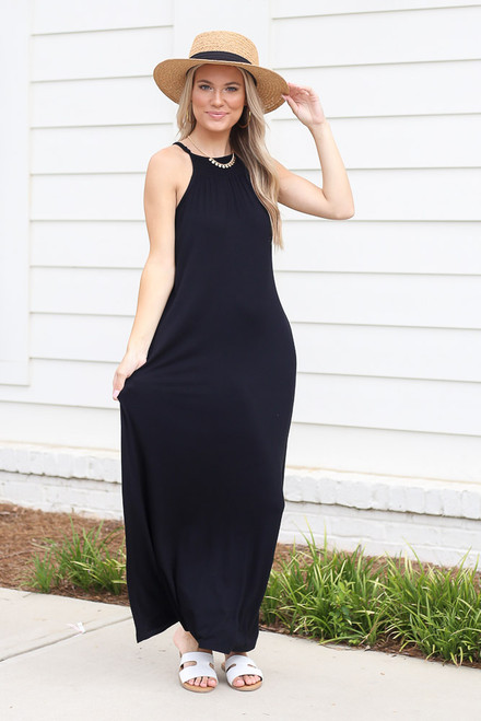 Black - Model wearing the Smocked High Neck Maxi Dress