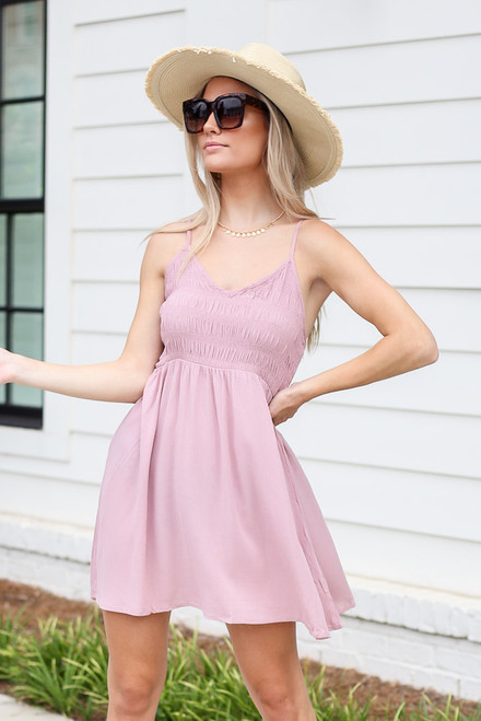Mauve - Model wearing the Smocked Swing Dress