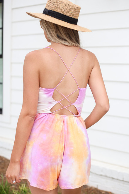 Lilac - Tie-Dye Cross Back Romper Back View