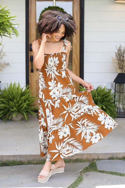 Camel - Smocked Floral Maxi Dress