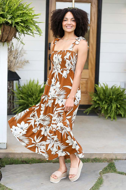 Camel - Smocked Floral Maxi Dress from Dress Up
