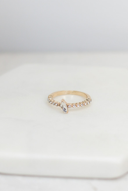 Gold - Rhinestone Ring from Dress Up
