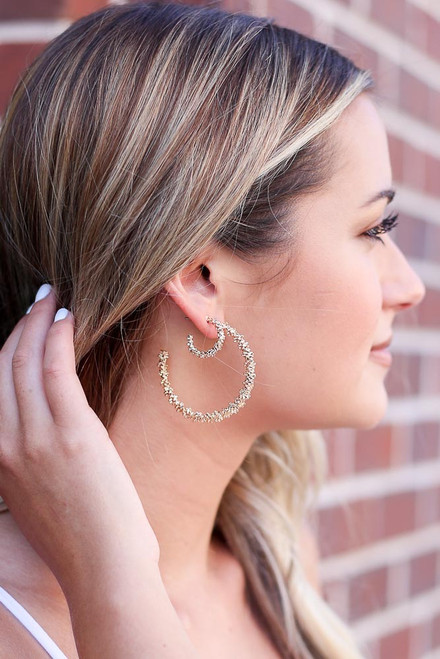 Gold - Textured Hoop Earring Set from Dress Up