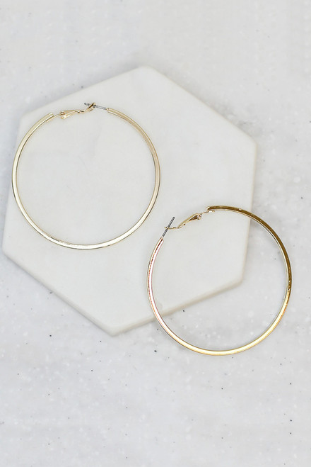 Gold - Large Hoop Earrings from Dress Up