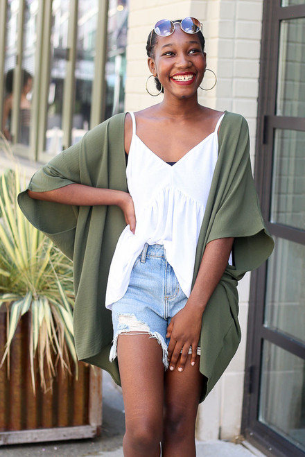 Olive - Model wearing the Lightweight Kimono with a white babydoll tank