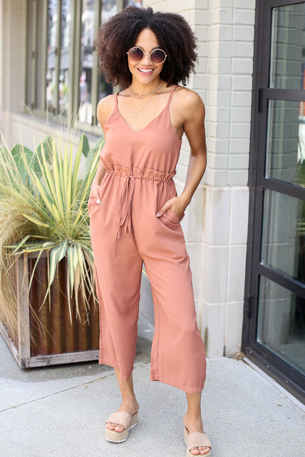 Camel - Model wearing the Wide Leg Culotte Jumpsuit