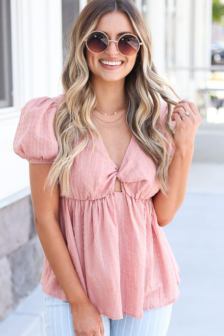 Blush - Swiss Dot Babydoll Blouse