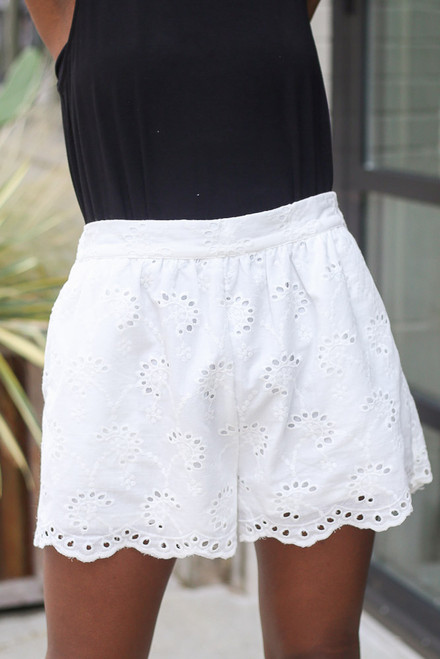 White - Eyelet Scalloped Shorts from Dress Up
