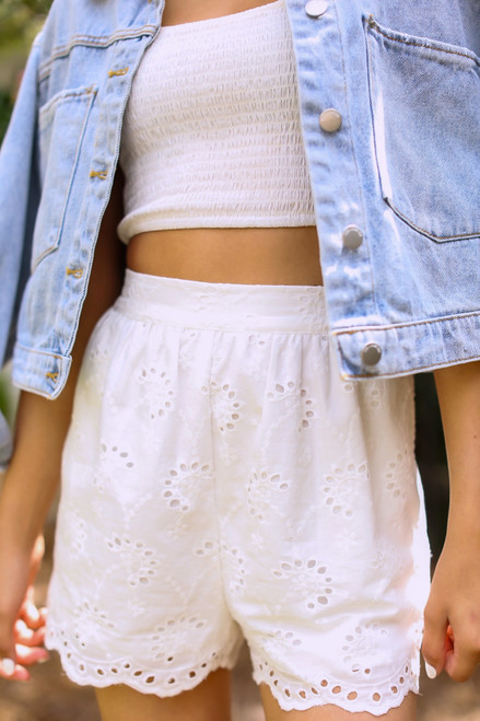 White - Eyelet Scalloped Shorts