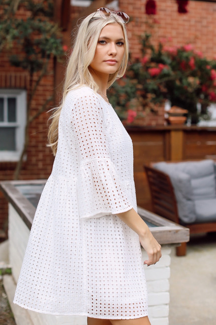 White - Eyelet Babydoll Dress