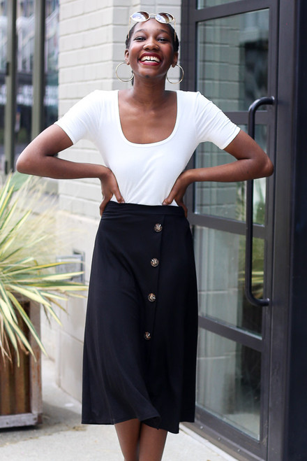 Black - Button Front Midi Skirt