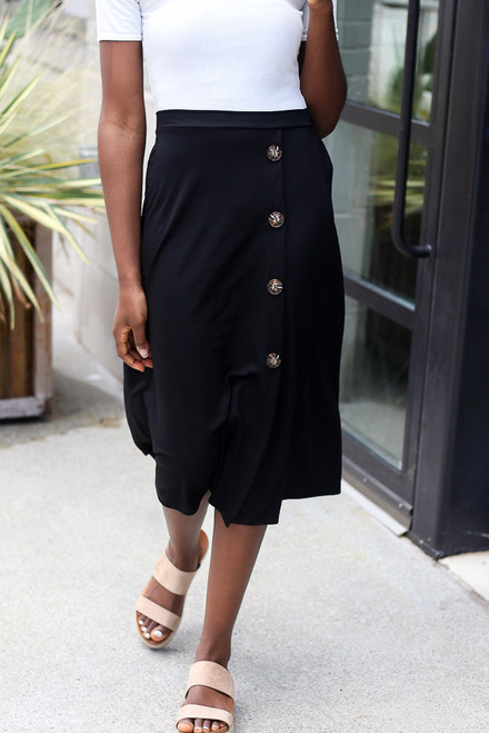 Black - Button Front Midi Skirt from Dress Up