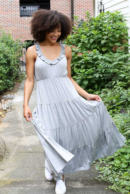 Heather Grey - Dress Up model wearing the Tiered Maxi Dress