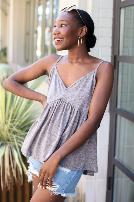 Charcoal - Knit Babydoll Tank from Dress Up