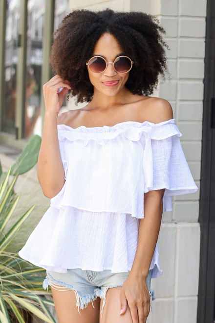 White - Model wearing the Ruffled Top