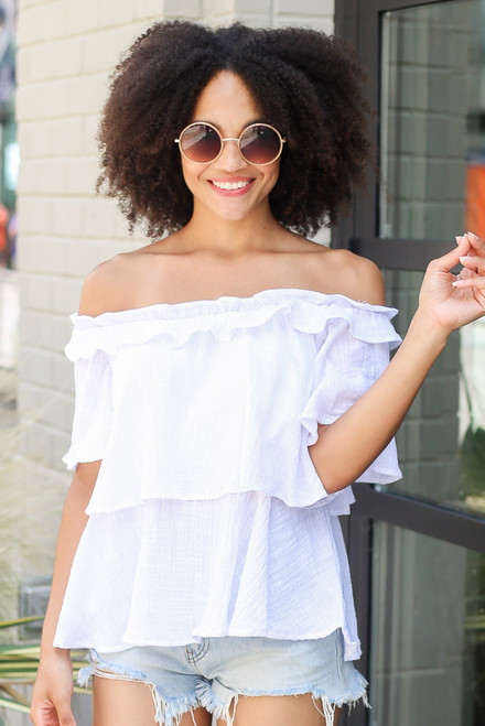 White - Dress Up model wearing the Ruffled Top