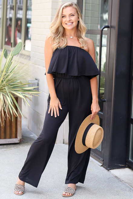 Black - Strapless Jumpsuit from Dress Up